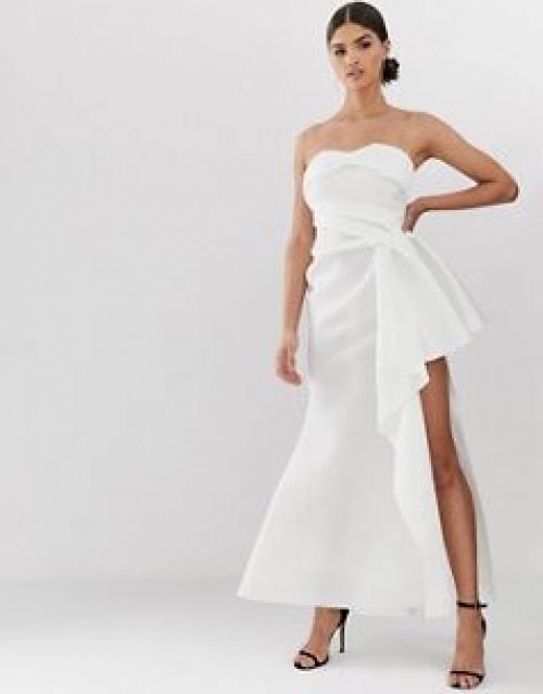 ASOS DESIGN - Robe longue bandeau avec effet plissé