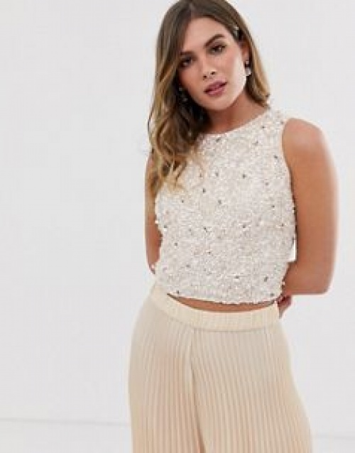 Lace & Beads - Top court sans manches avec ornements