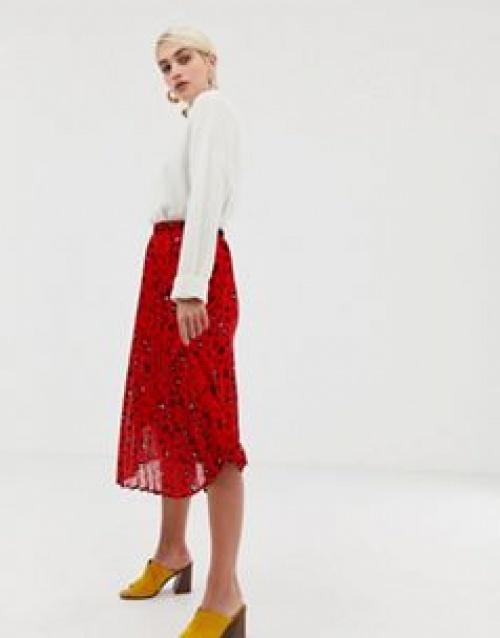 Selected Femme - Jupe plissée à imprimé léopard abstrait