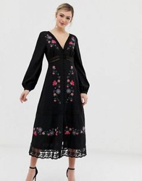 ASOS DESIGN - Robe longue brodée