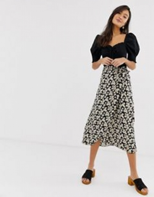 New Look - Jupe portefeuille mi-longue à petites fleurs