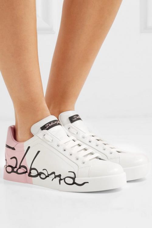 Dolce & Gabbana - Baskets en cuir à logo