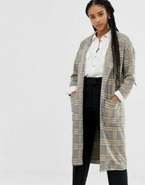 Brave Soul - Manteau long à carreaux avec poches plaquées