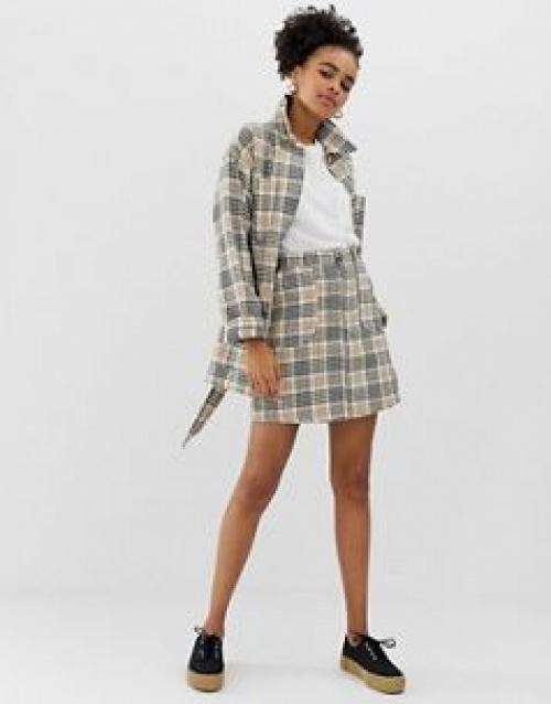 Monki - Mini-jupe en sergé à carreaux