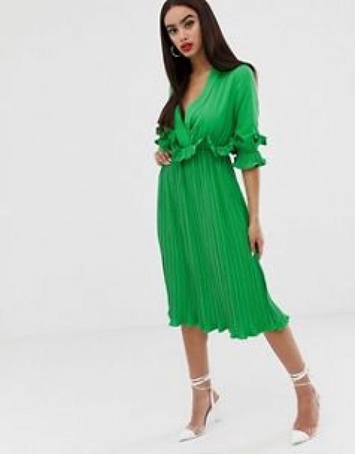 PrettyLittleThing - Robe mi-longue plissée