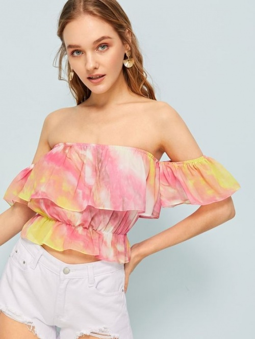Blouse col bardot tie dye avec plis