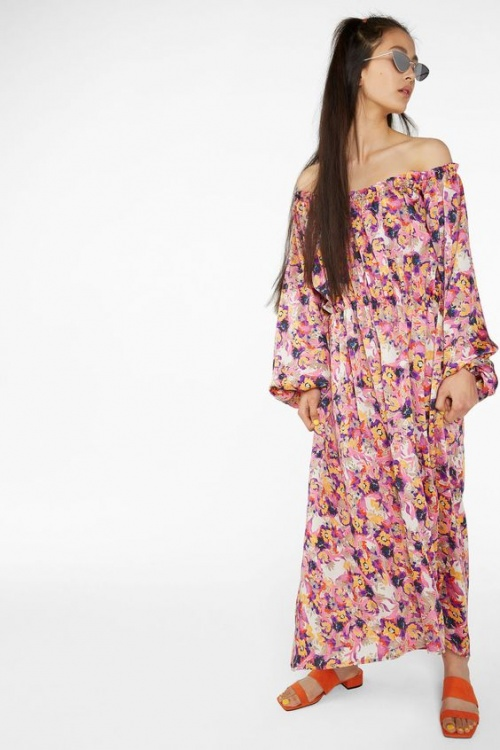 Elastic-waist long dress