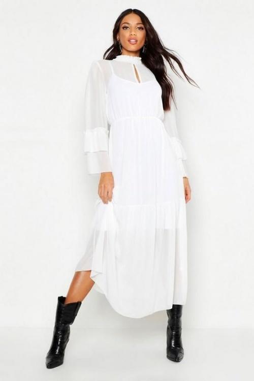robe maxi à manches à volants et col montant