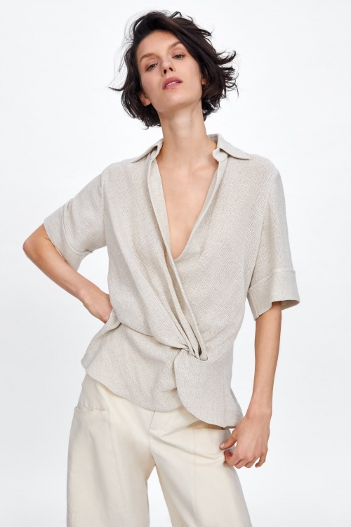 Zara - Blouse à noeuds