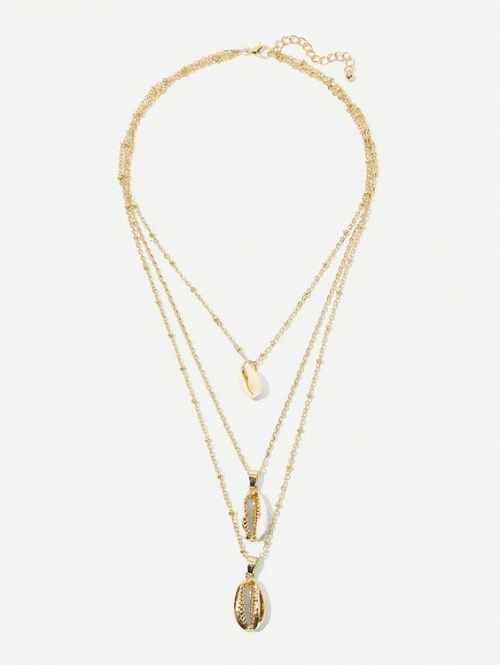 Collier de chaîne multicouche avec pendentif de coquille 1 pièce