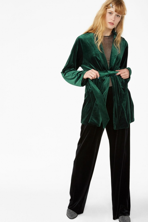 Velvet wrap blazer