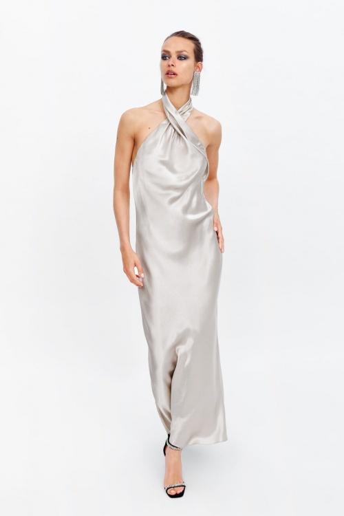 Zara - Robe longue satinée