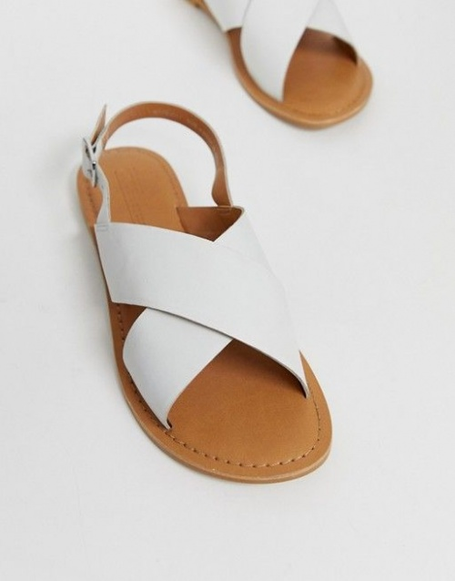 ASOS - Sandales plates blanches