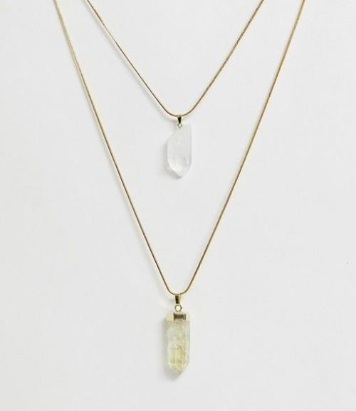 Aura Crystals by Calum Best - Collier avec pendentifs citrine et quartz transparent