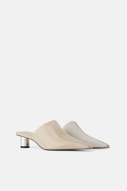 Zara - Mules à talons en cuir écru
