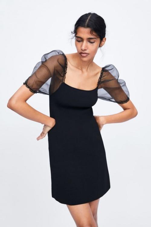 Zara - Robe en maille à manches bouffantes