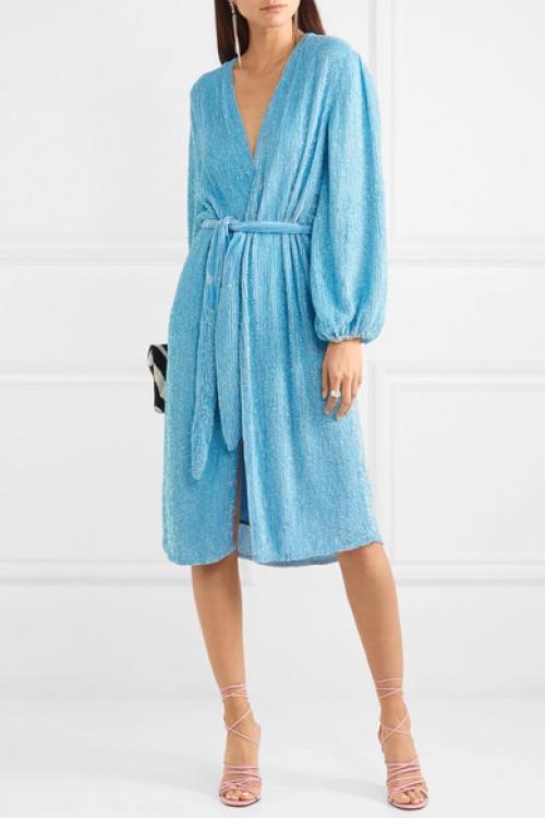 Rétrofête - Robe portefeuille en mousseline à sequins et en velours
