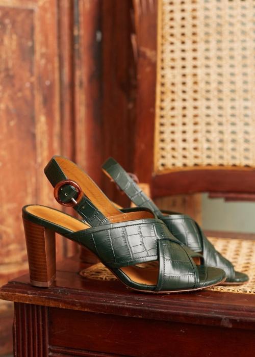 Sézane - Sandales à talons croco vert