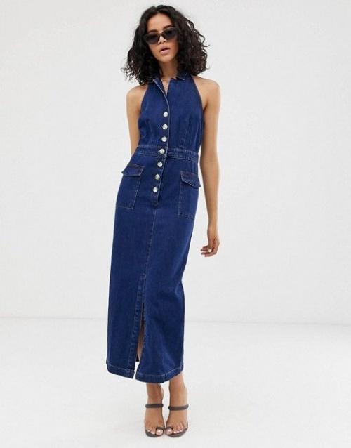Asos Design - Robe longue dos nu boutonnée en jean