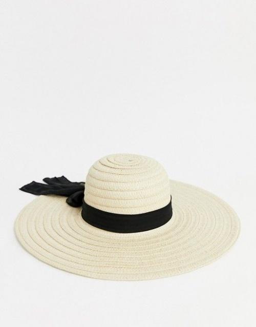 South Beach - Chapeau de paille oversize avec nœud