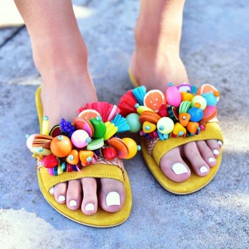 Pinky Promise - Sandales jaunes en cuir