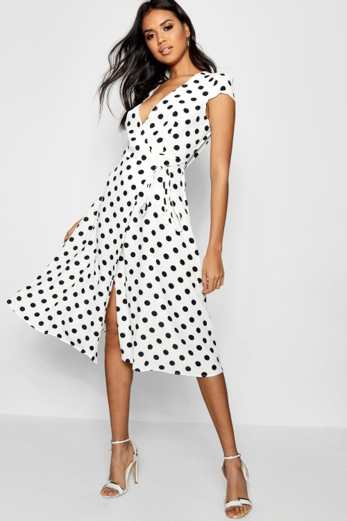 Boohoo - Robe portefeuille à pois