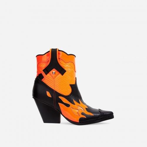 Ego shoes - Bottines imprimé serpent orange
