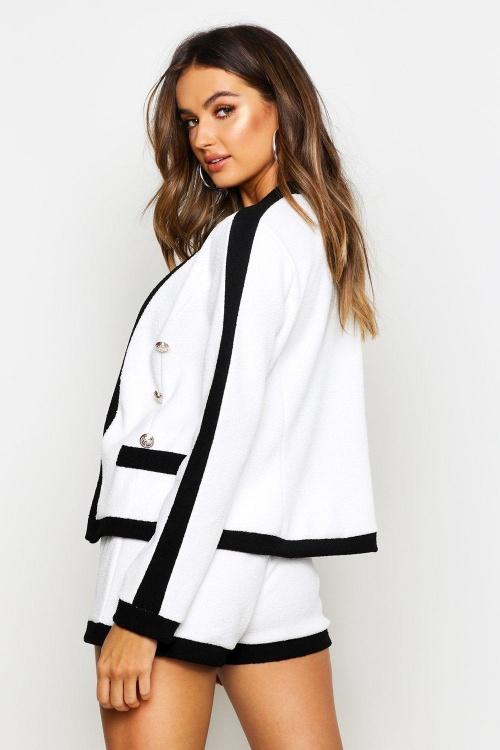 Boohoo - Veste courte blanche en tweed