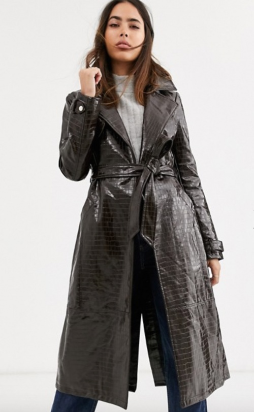 River Island - Trench vinyle marron