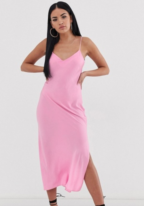 Asos Design - Robe nuisette longue rose