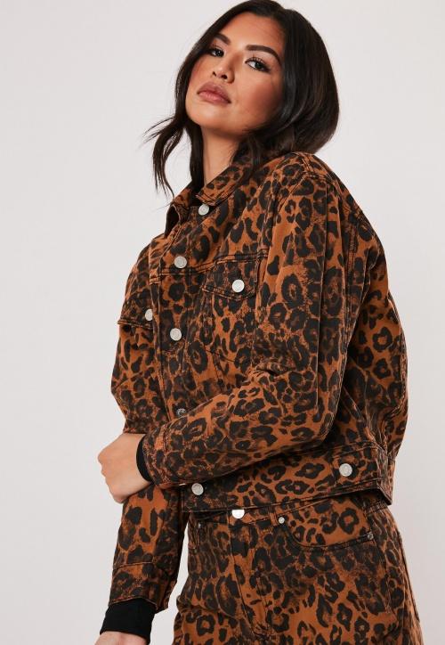 Missguided - Veste en jean léopard