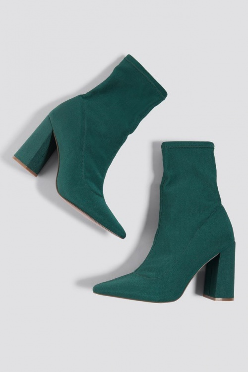 NA-KD - Bottines chaussettes vert sapin