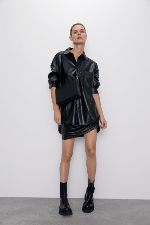 Zara - Chemise en simili cuir
