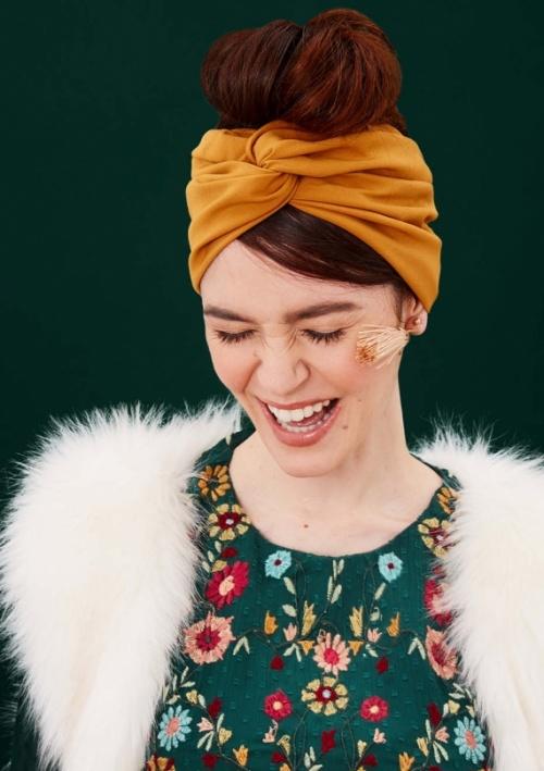 Indira - Demi turban jaune safran