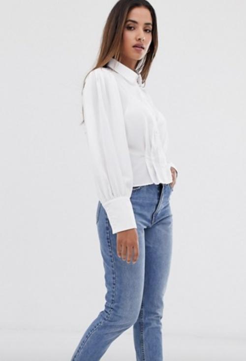 Vila - Chemise blanche manches bouffantes