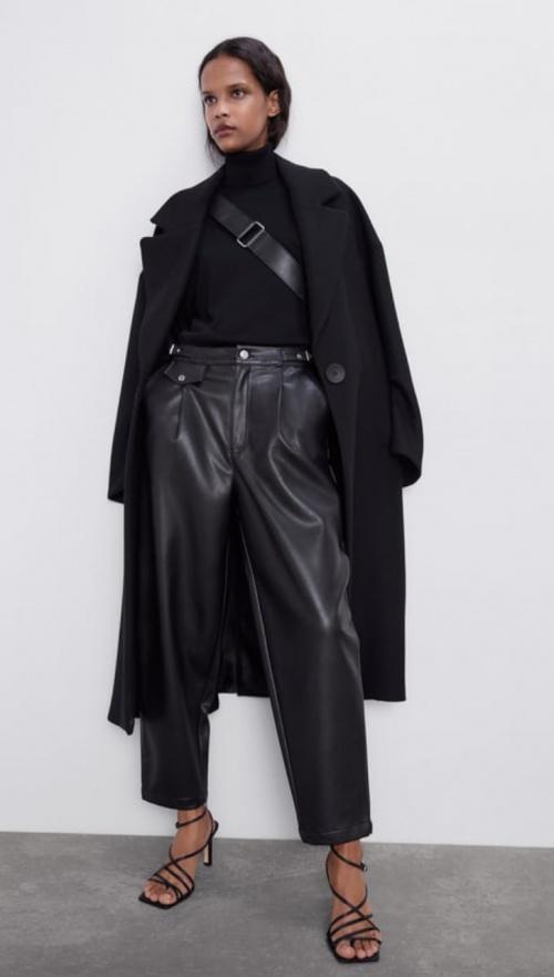 Zara - Pantalon cuir synthétique