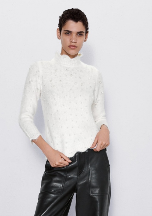 Zara - Pull en maille à perles