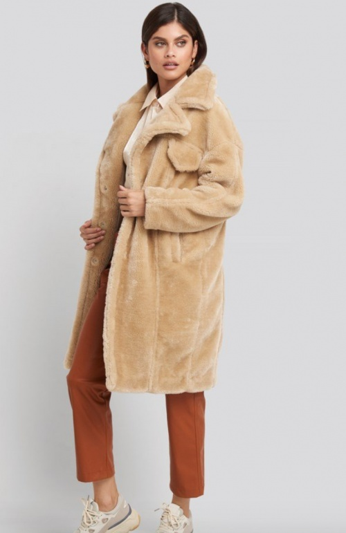 NA-KD - Long manteau teddy beige