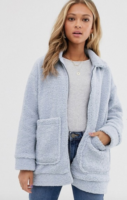 Wednesday's girl - Veste teddy baby blue