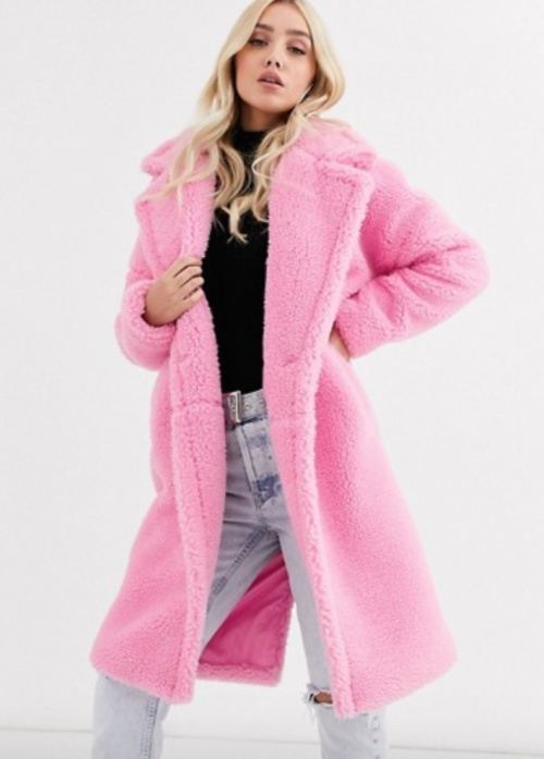 Missguided - Manteau long rose