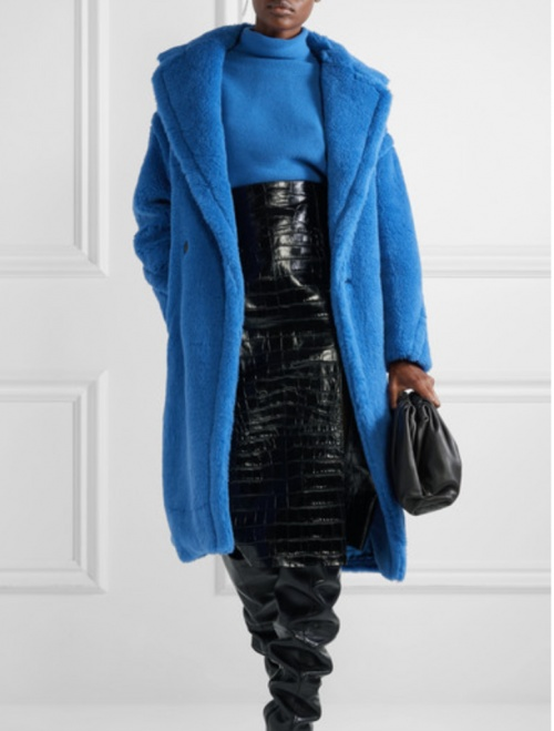 Max Mara - Long manteau teddy bleu
