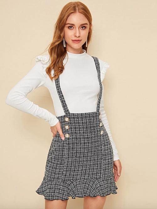 Shein - Salopette jupe en tweed