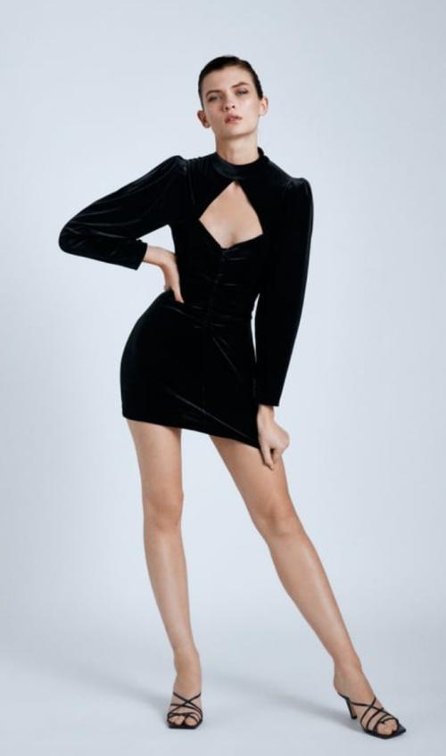 Zara - Robe courte en velours