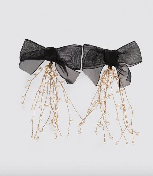 Zara - Boucles d'oreilles à noeuds et perles