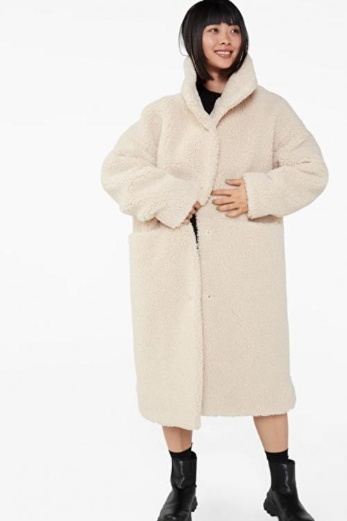 Monki - Long manteau teddy