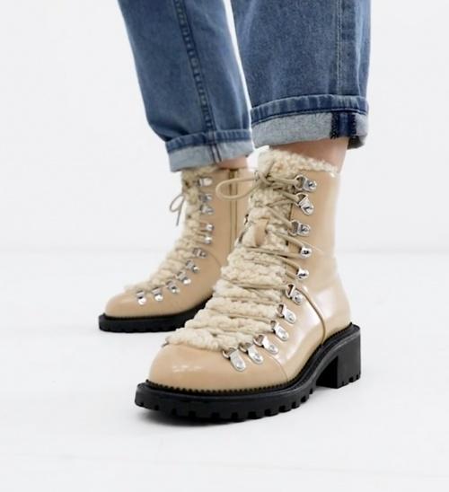 Asos Design - Chaussures de randonnée avec imitation peau de mouton