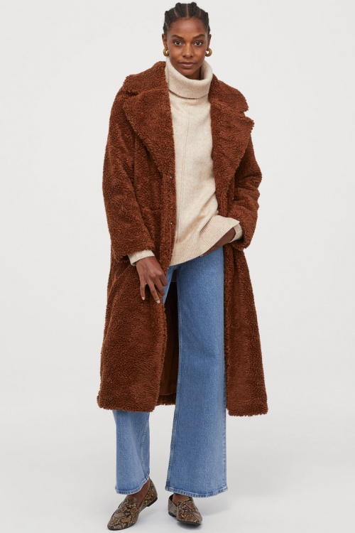H&M - Manteau long en peluche