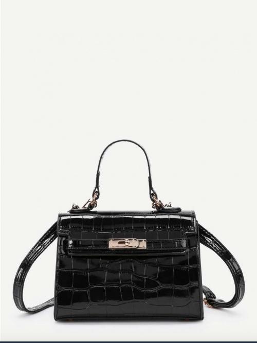 SHEIN - Mini sac croco noir