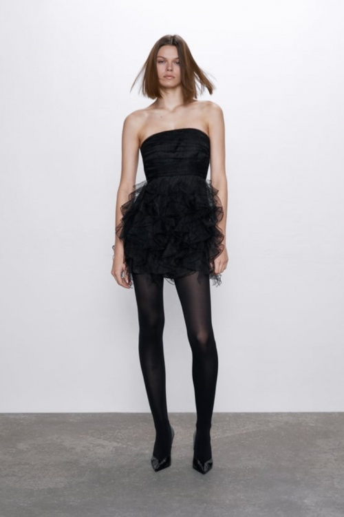Zara - Robe courte en tulle à volants