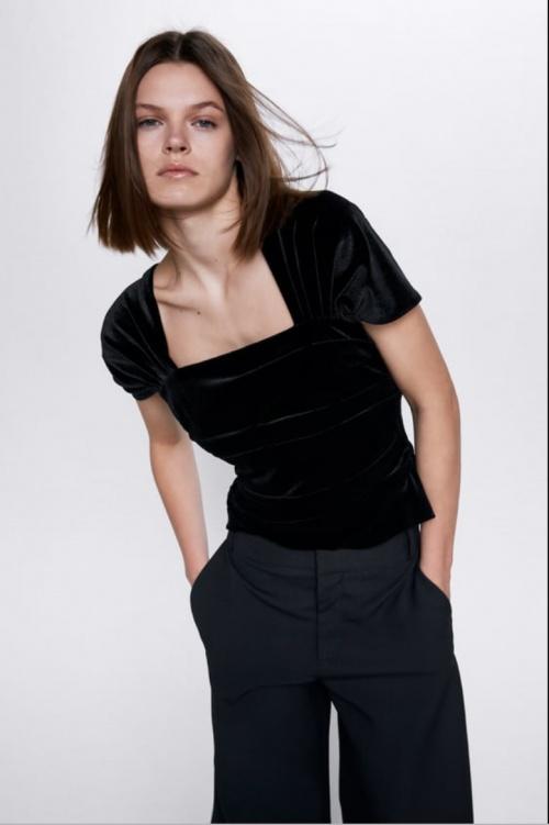 Zara - Top en velours à plis